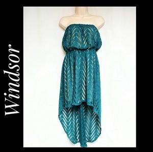 Windsir High Low Hem Strapless Dress Teal Size S